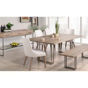 mid century modern electra dining room set shown in a room setting