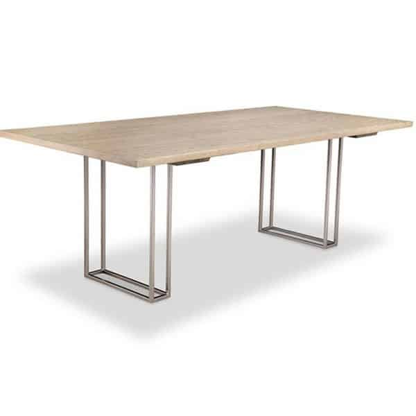 electra dining table with metal base and solid wood top