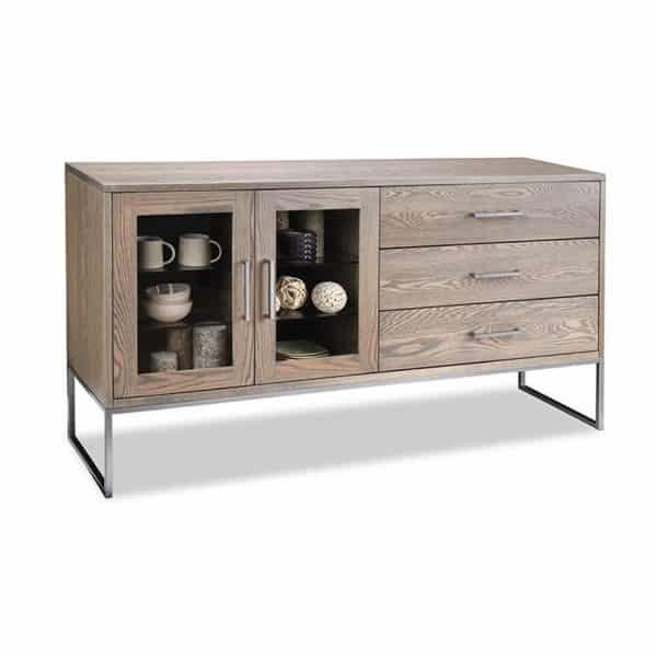 metal base electra sideboard with drawers and glass doors