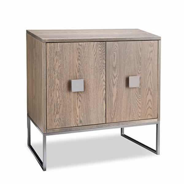 electra storage chest with 2 wood doors and metal base