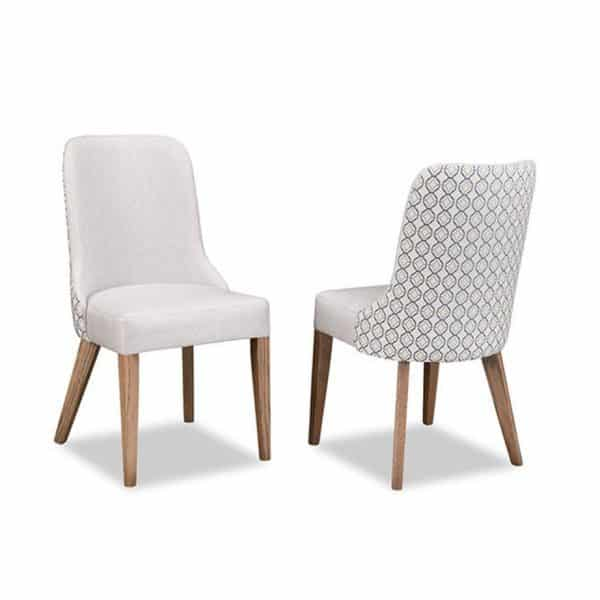 electra upholstered modern dining chair shown front and back