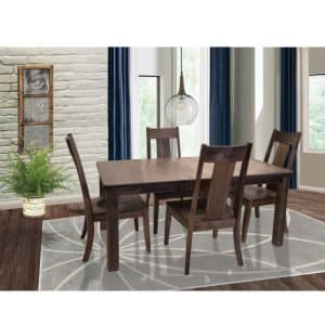 solid wood hazelton rectangular dining table with 4 chairs