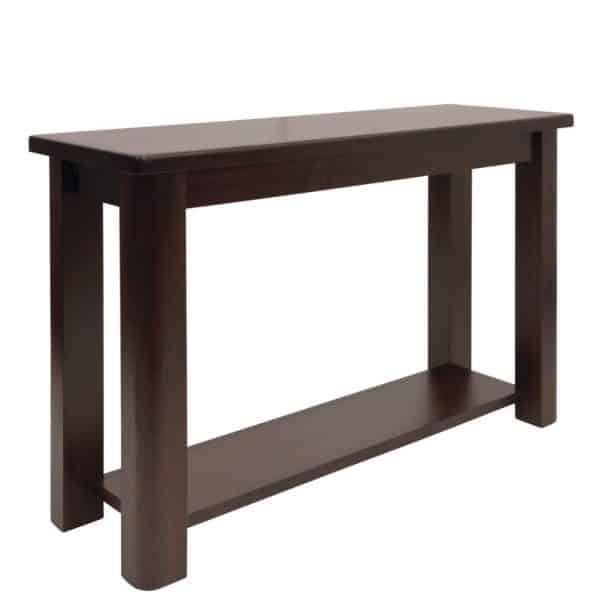 solid wood hazelton sofa table in dark stain
