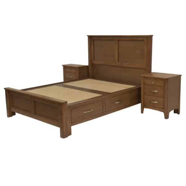 hazelton storage bed in solid wood with under bed drawers