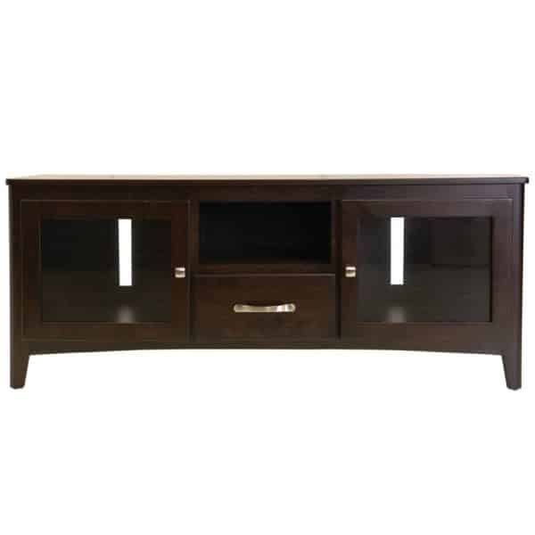 solid wood hazelton tv console with glass doors