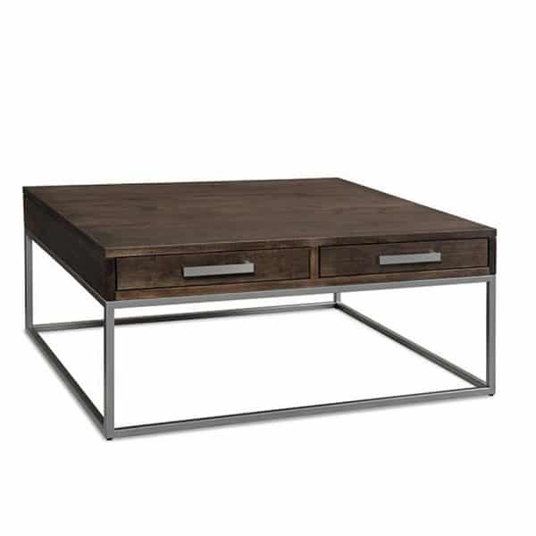 square muskoka custom made coffee table with drawers and silver metal base
