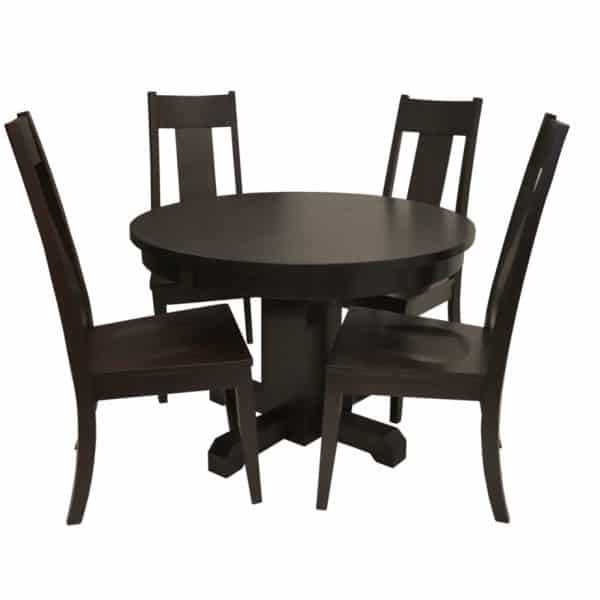 oliver dining table with round top and 4 chairs