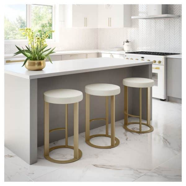 modern fabric seat allegro counter stool in contemporary kitchen