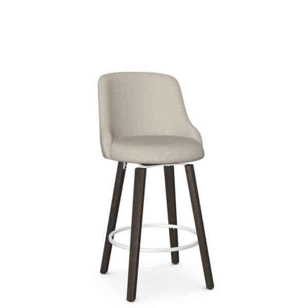 solid wood base on diaz fabric seat swivel stool for counter
