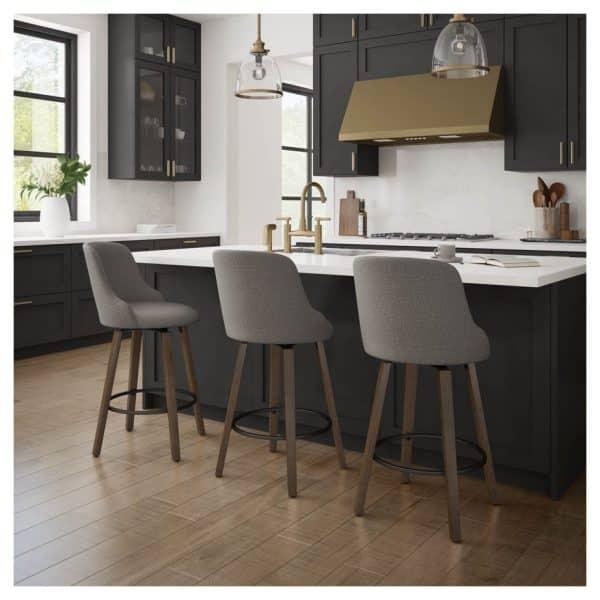 modern farmhouse kitchen with fabric diaz swivel stool by amisco