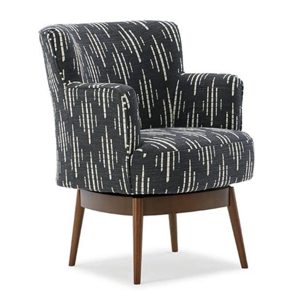 custom upholstery on keilda swivel chair with dark wood base