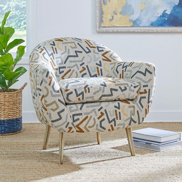 custom fabric option on kissly modern tub accent chair
