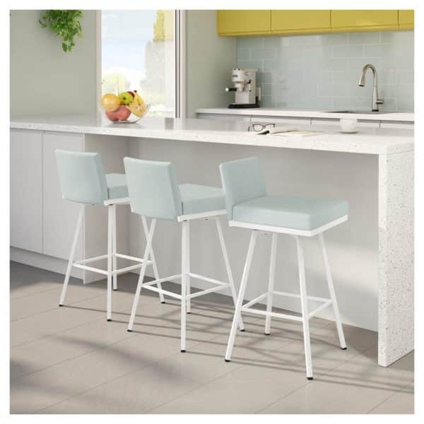 amisco custom fabric linea low swivel stool in modern kitchen