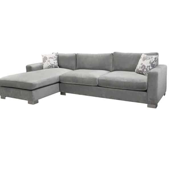 made in canada retreat custom sectional with chaise and feather