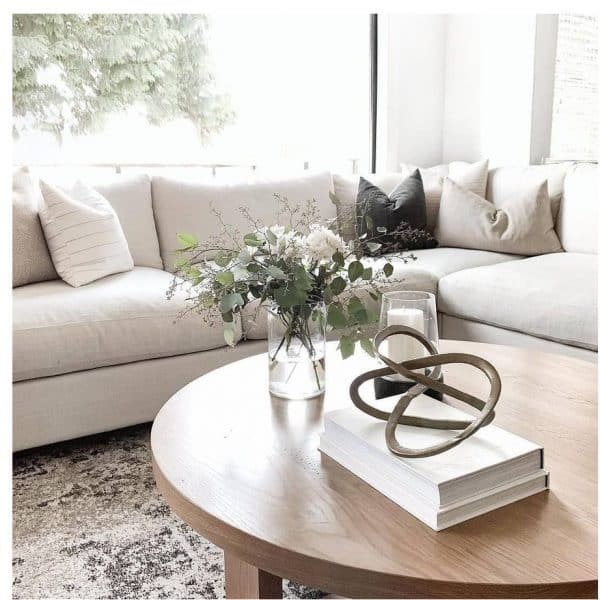 beautiful cozy living room with van gogh retreat sectional in custom soft fabric