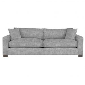 large oversize feather filled retreat sofa in custom fabric