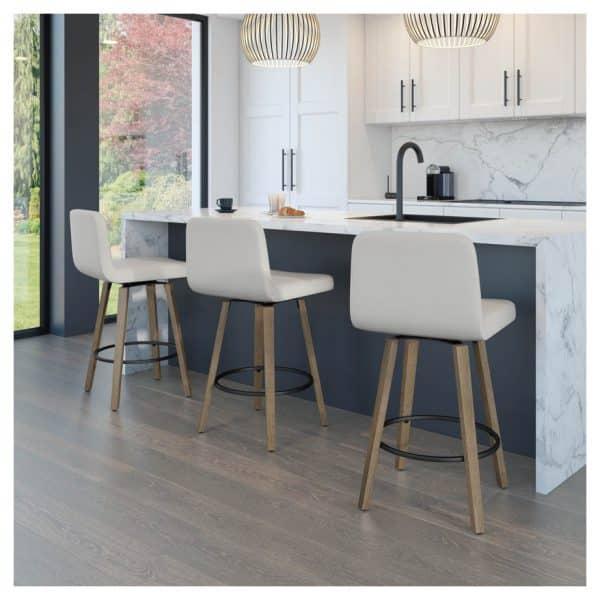 modern kitchen with visconti swivel stools at island bar