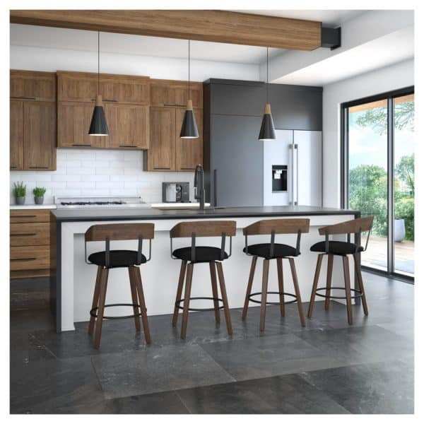 amisco hand crafted in canada zao swivel stool in modern kitchen