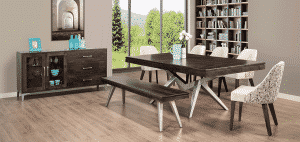 handstone solid wood laguna dining room collection in modern wood and metal design